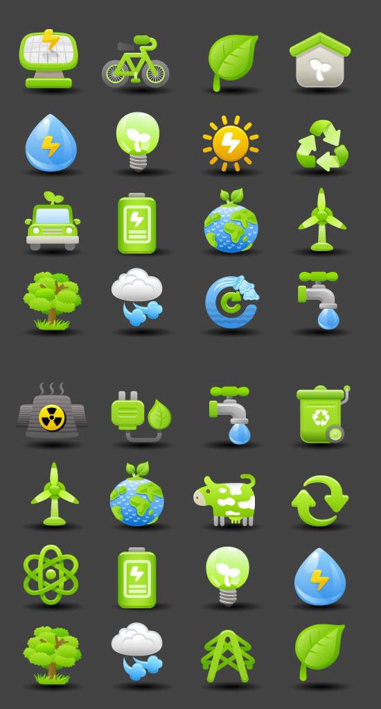 Energy-saving emission reduction icons