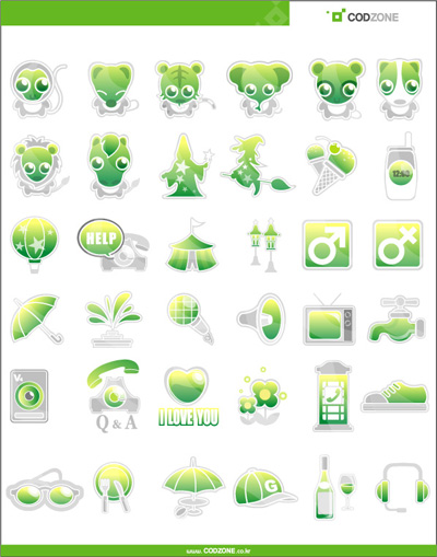 Green cute icons