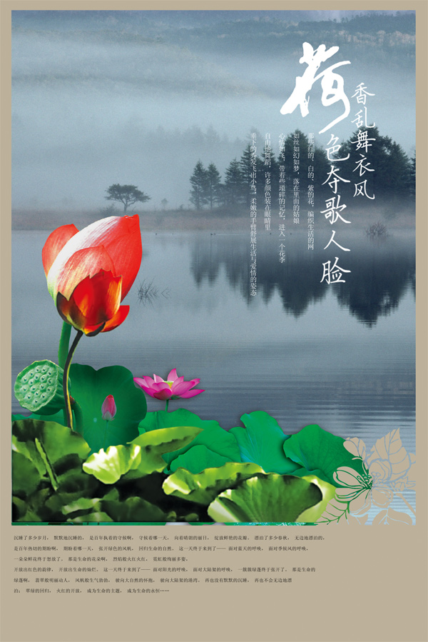 Lotus pond poster PSD
