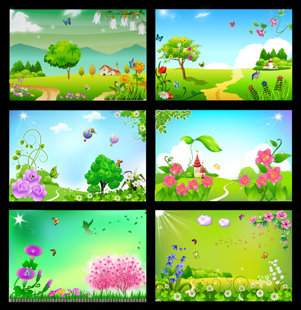 Spring cartoon panels PSD
