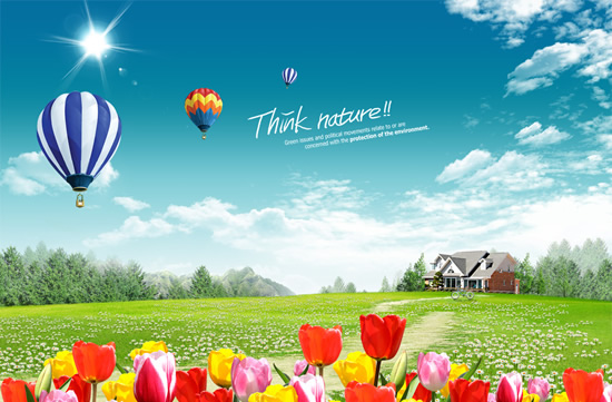Spring flowers blooming suburban landscape PSD