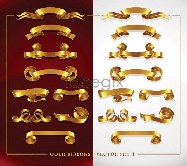 Beautiful Gold Ribbon 1 Vector