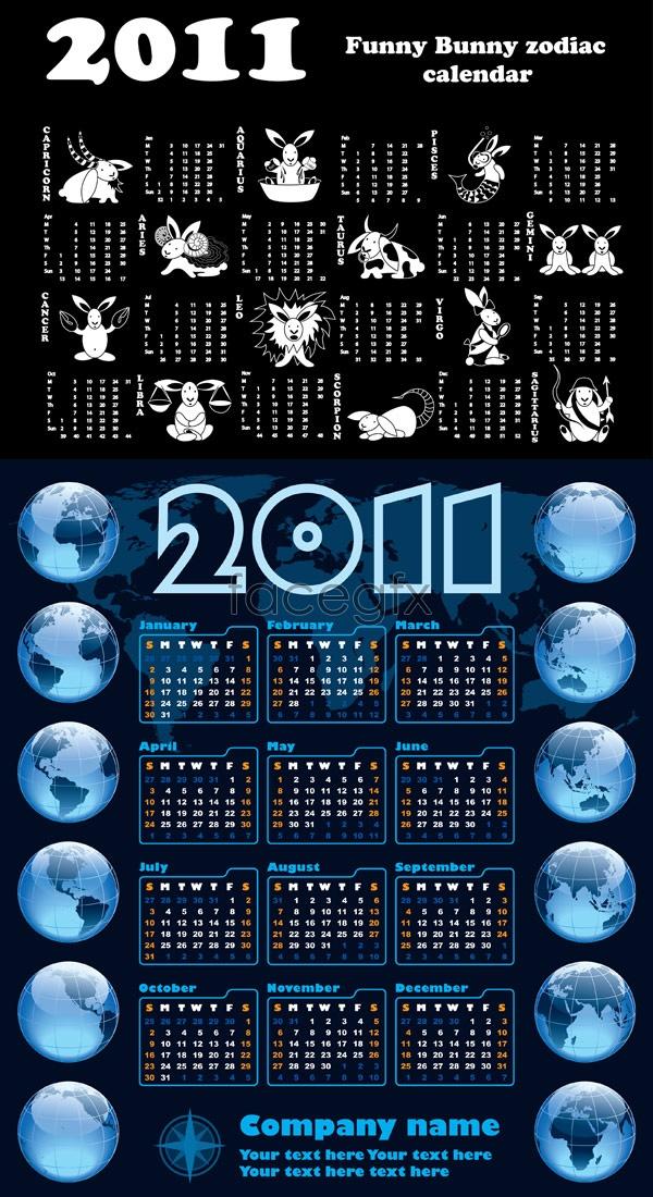 Rabbit 2011 wall calendar Vector