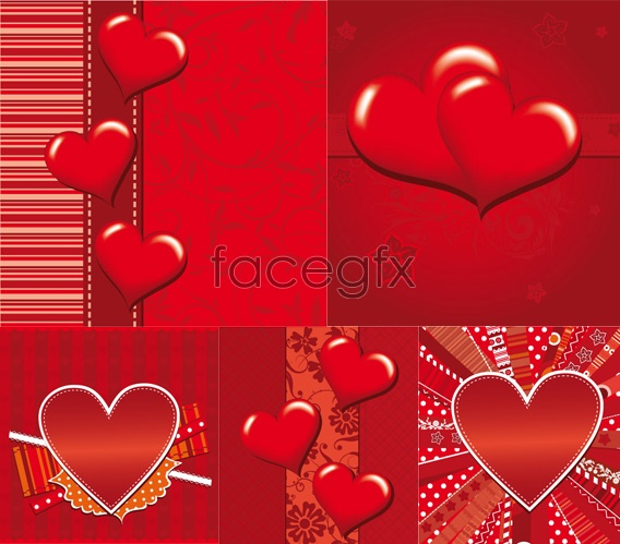 Romantic heart-shaped cards Vector