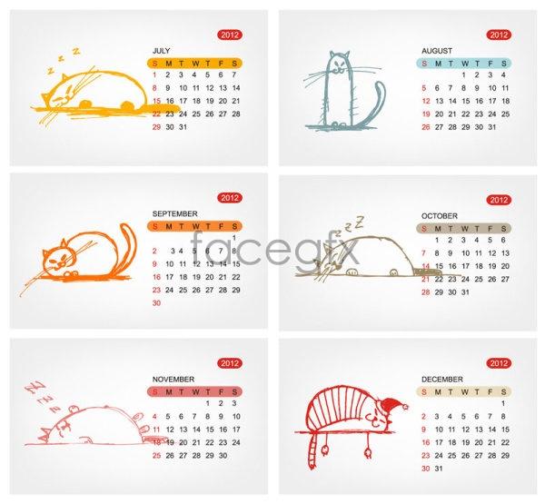 2012 calendar template 1 Vector