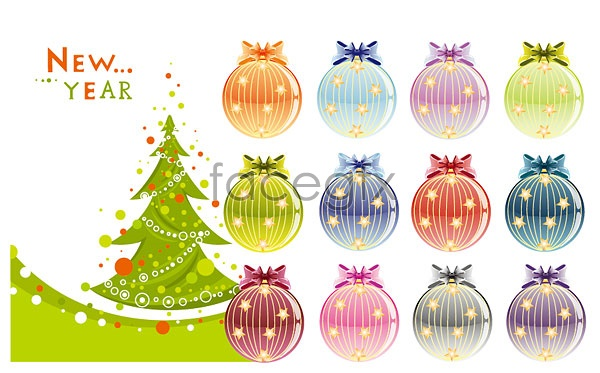 Christmas trees and decorative ball Vector