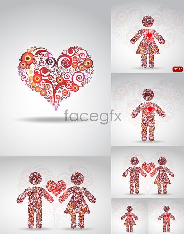 Circle of love patterns Vector