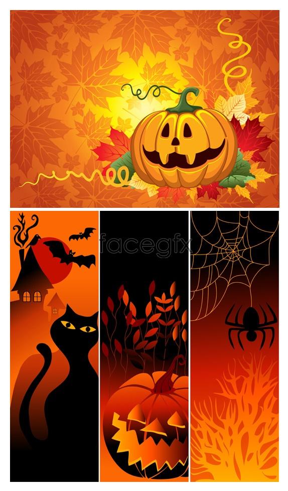 Halloween Pumpkin spider Vector