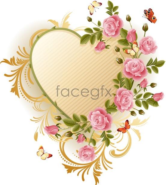 rose flower butterfly heart vector  free download, Beautiful flower