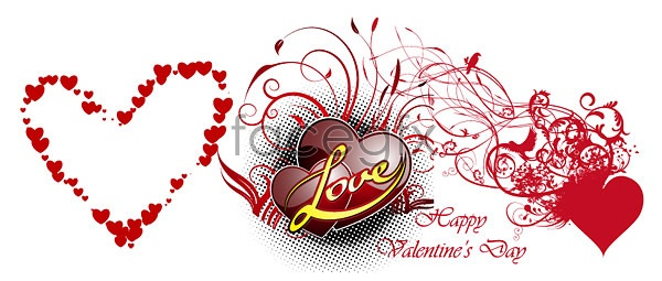 Valentine's Day heart-shaped elements Vector