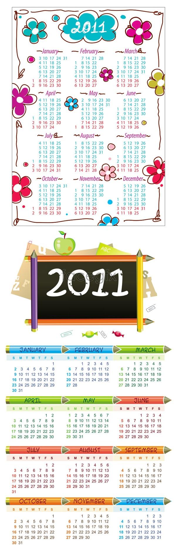 Adorable 2011 calendar Vector