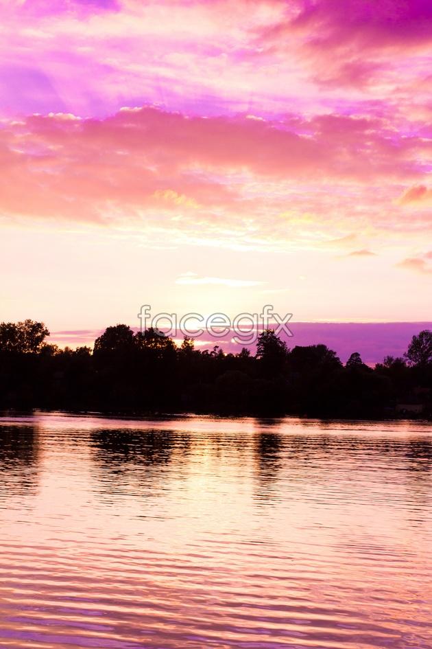 HD landscape at sunset photo