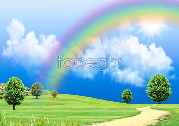 HD Rainbow meadow pictures