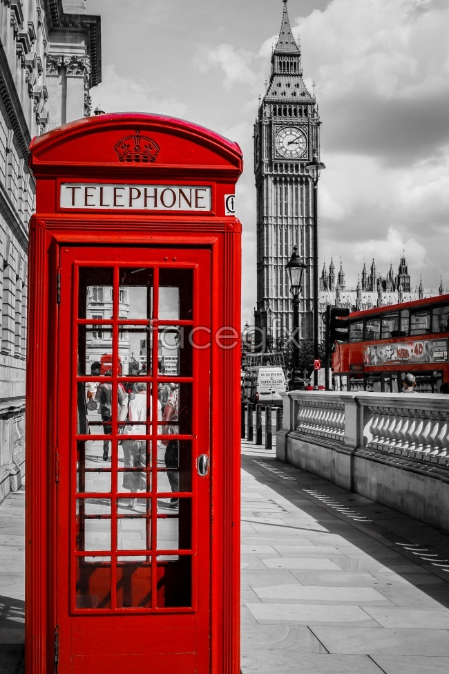 Comparative European red telephone booth on the street pictures