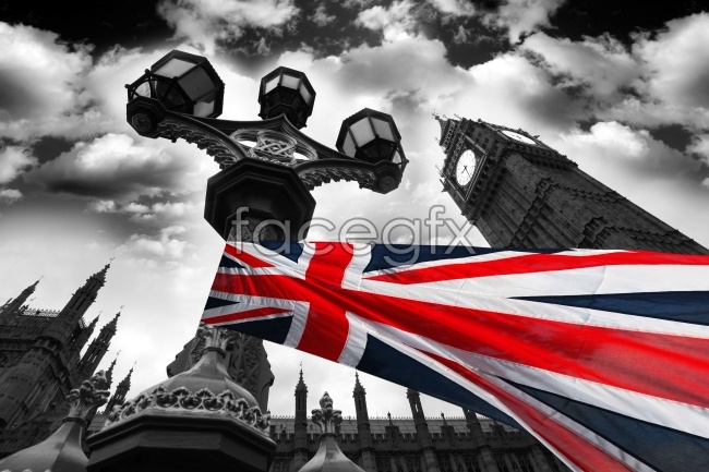 Black and white art United Kingdom flag city pictures