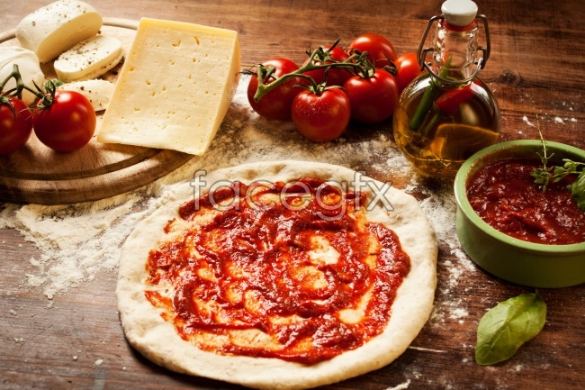 HD delicious gourmet hot sauce pizza material picture