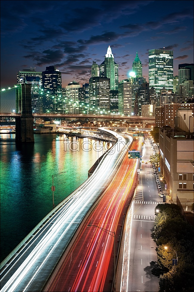 Traffic night city landscape HD pictures