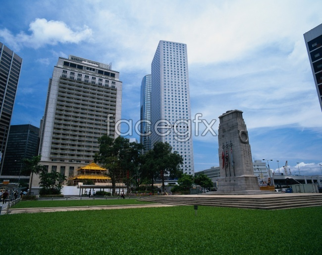 Hong Kong skyscrapers lawn landscape picture