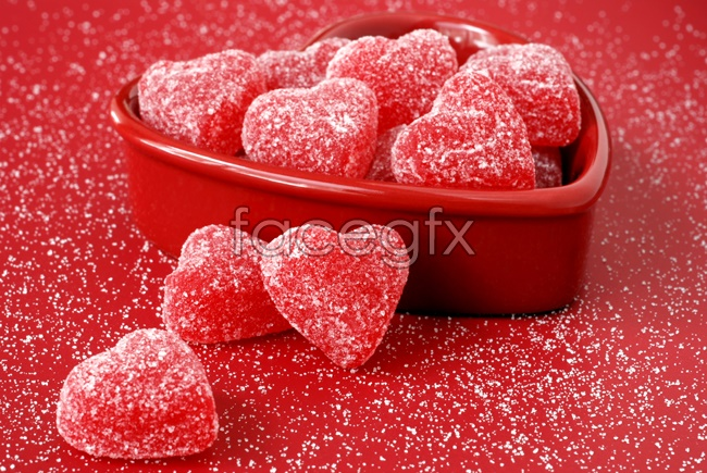 Red heart-shaped candy picture
