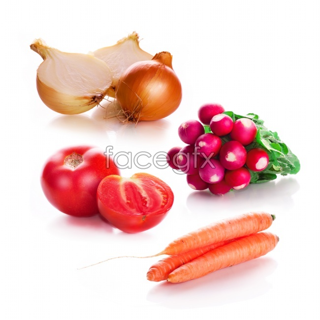 Fresh fruit and vegetables on a white background high definition pictures