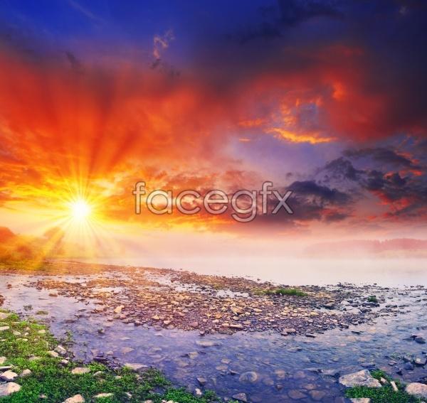 HD Sunrise pink clouds picture