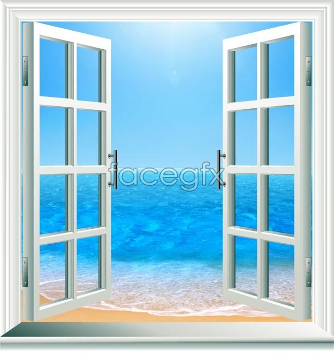 Lattice window seaside picture
