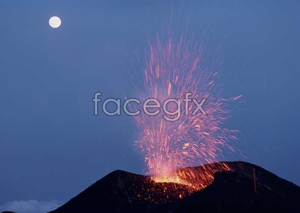 Night volcano pictures