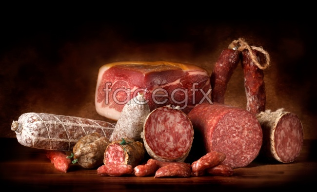 Cured meat sausage and ham ingredients HD pictures