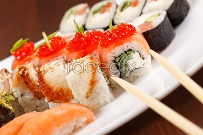 Chopsticks sushi salmon sushi delicious HD picture