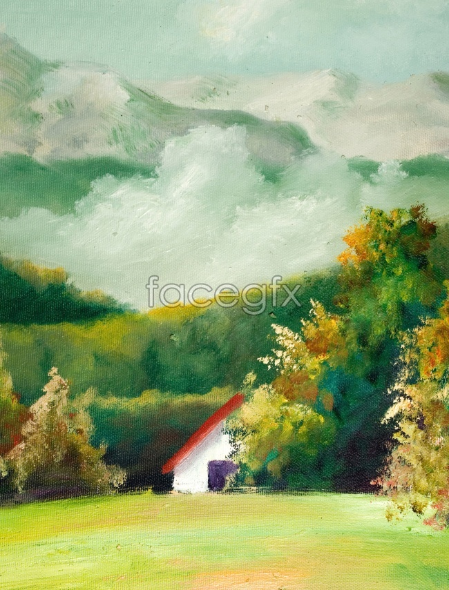 Hand-painted oil painting country painting landscape picture