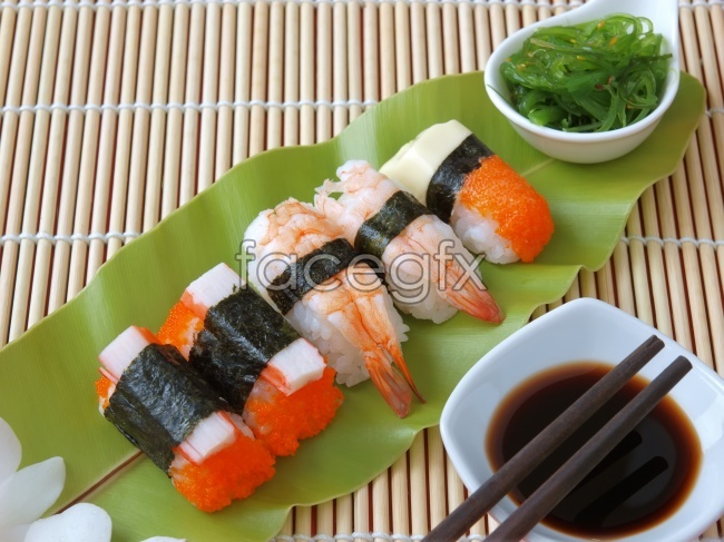 HD pictures of fresh shrimp and sushi material