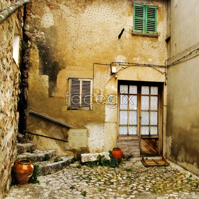 Streets of old houses with old oil painting