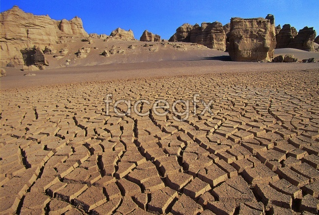 Lake dry cracking picture material