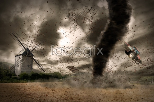 Creative pictures of the tornado at the mill