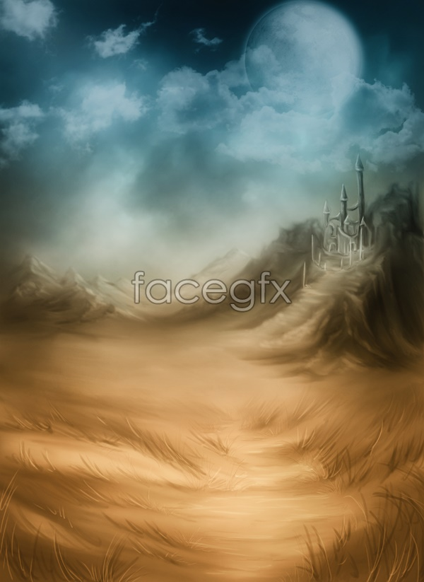 Castle in the sky scenery picture