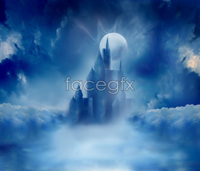 Fairy tale dreams Castle blue water high definition pictures