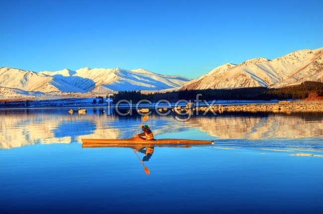 Landscapes of Tibet farmer boat picture
