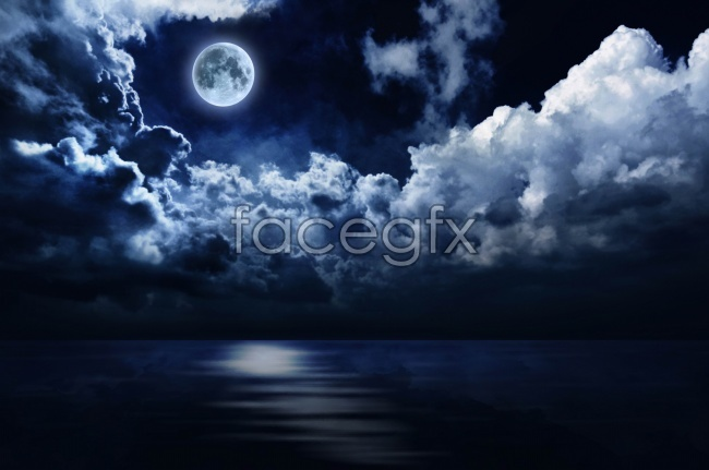 Night moon landscape pictures