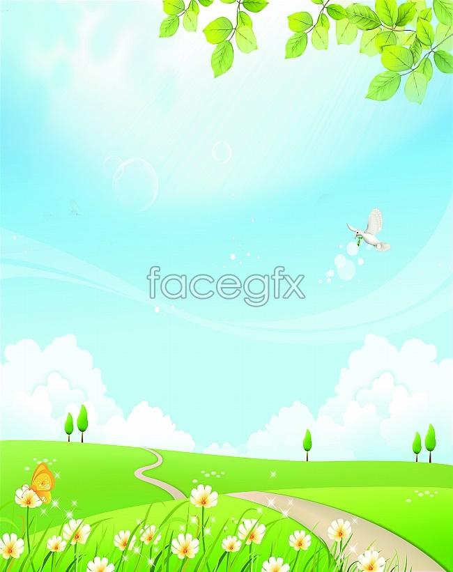 Cartoon spring desktop wallpaper