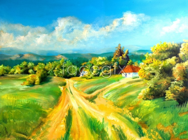 Oil painting hand-painted a beautiful landscape picture path field