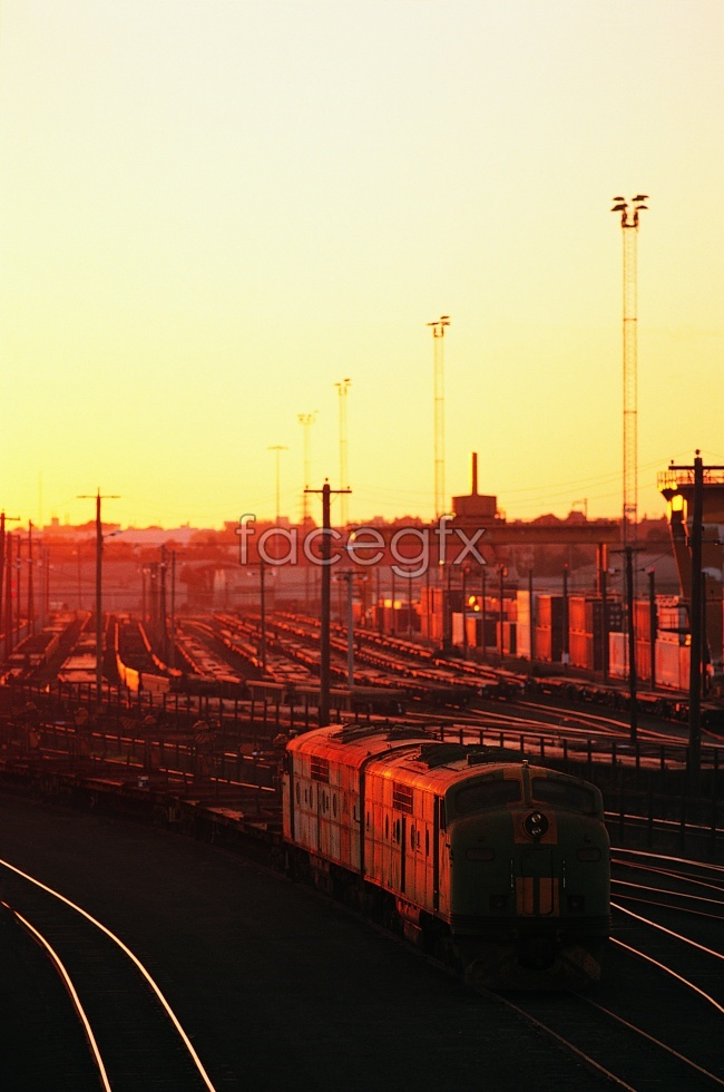 Sunset train train track HD pictures