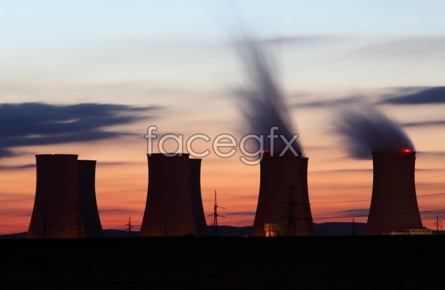 Factory chimneys at sunset high definition pictures
