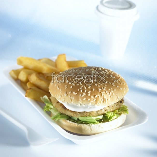 Hamburger and French fries HD pictures