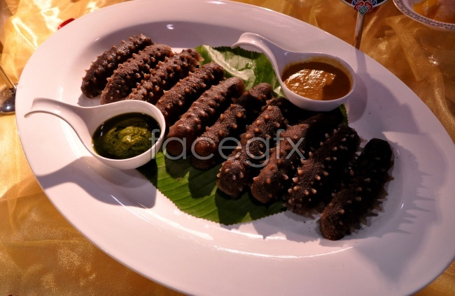 Gourmet black sea cucumber sauce pictures