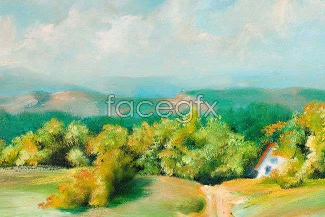 Oil bloom-style aesthetic field landscape picture