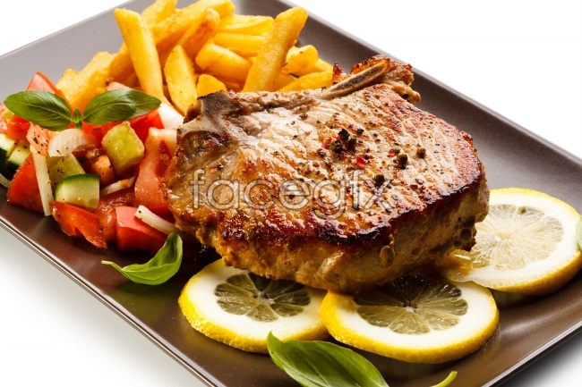 Western-style beef steak lunch food photos