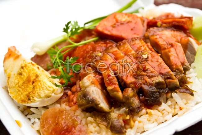 Barbecued peppers with rice rice with fried fish pictures