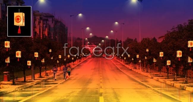 Festive street lights picture