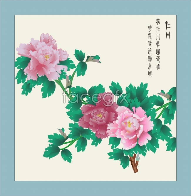 Chinese wind material meticulous flower high resolution images