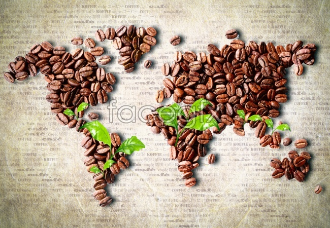 World map coffee beans green leafy material high definition pictures